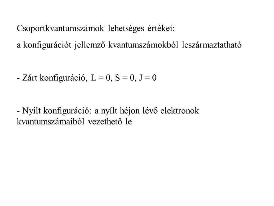 Csoportkvantumszámok lehetséges értékei: a konfigurációt jellemző kvantumszámokból leszármaztatható - Zárt konfiguráció, L = 0, S = 0, J = 0 - Nyílt k