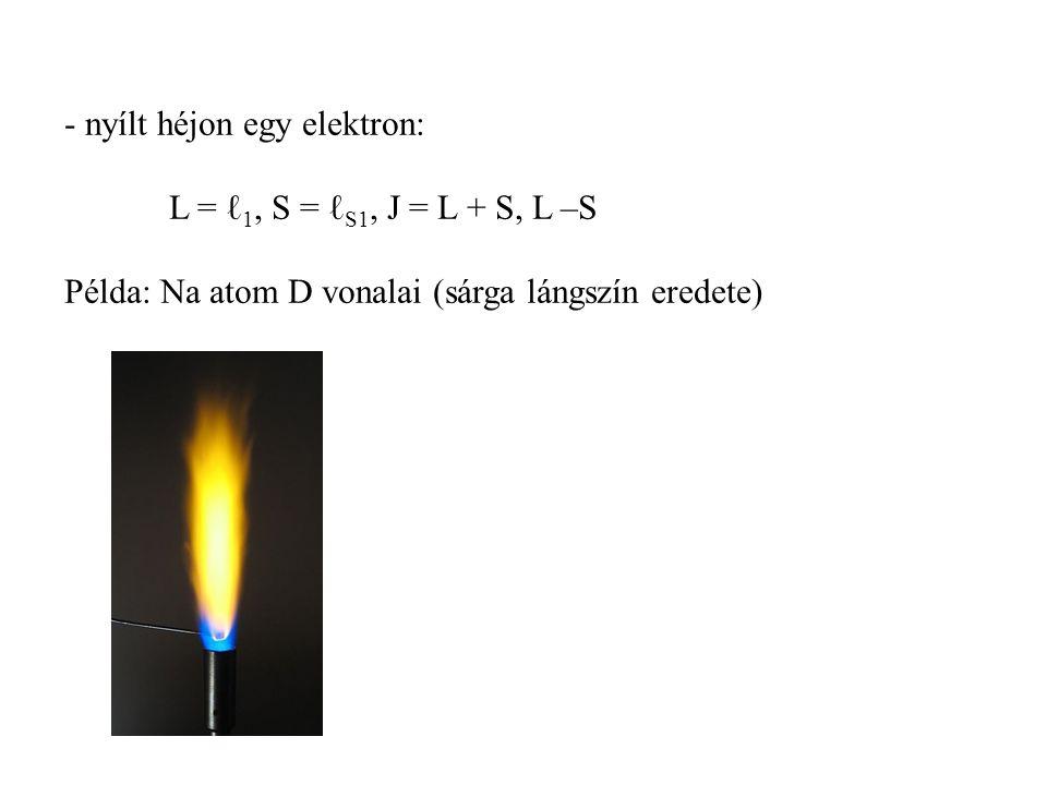 - nyílt héjon egy elektron: L = ℓ 1, S = ℓ S1, J = L + S, L –S Példa: Na atom D vonalai (sárga lángszín eredete)