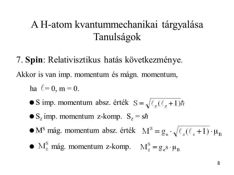 A H-atom kvantummechanikai tárgyalása Tanulságok 7. Spin: Relativisztikus hatás következménye. Akkor is van imp. momentum és mágn. momentum, ha = 0, m