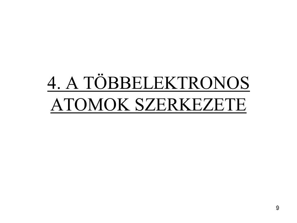 """Legegyszerűbb: """"szorzat-hullámfüggvény A többelektronos atom hullámfüggvényét egy- elektron hullámfüggvényeknek szorzataként írjuk fel."""