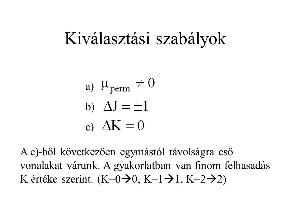 Kiválasztási szabályok a) b) c) A c)-ből következően egymástól távolságra eső vonalakat várunk.
