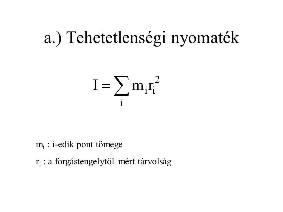 a.) Tehetetlenségi nyomaték m i : i-edik pont tömege r i : a forgástengelytől mért tárvolság