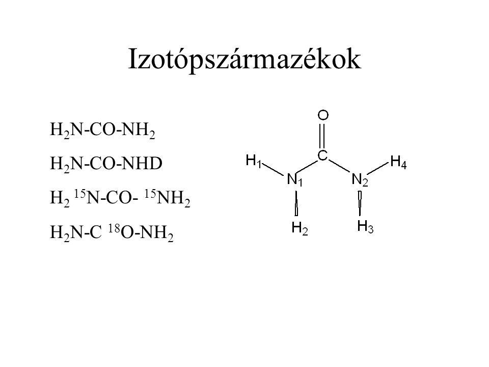 Izotópszármazékok H 2 N-CO-NH 2 H 2 N-CO-NHD H 2 15 N-CO- 15 NH 2 H 2 N-C 18 O-NH 2