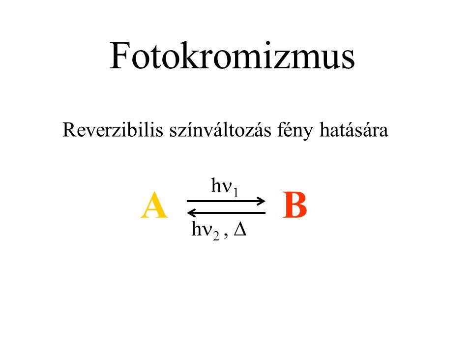 Fotokromizmus Reverzibilis színváltozás fény hatására AB h 1 h 2, 