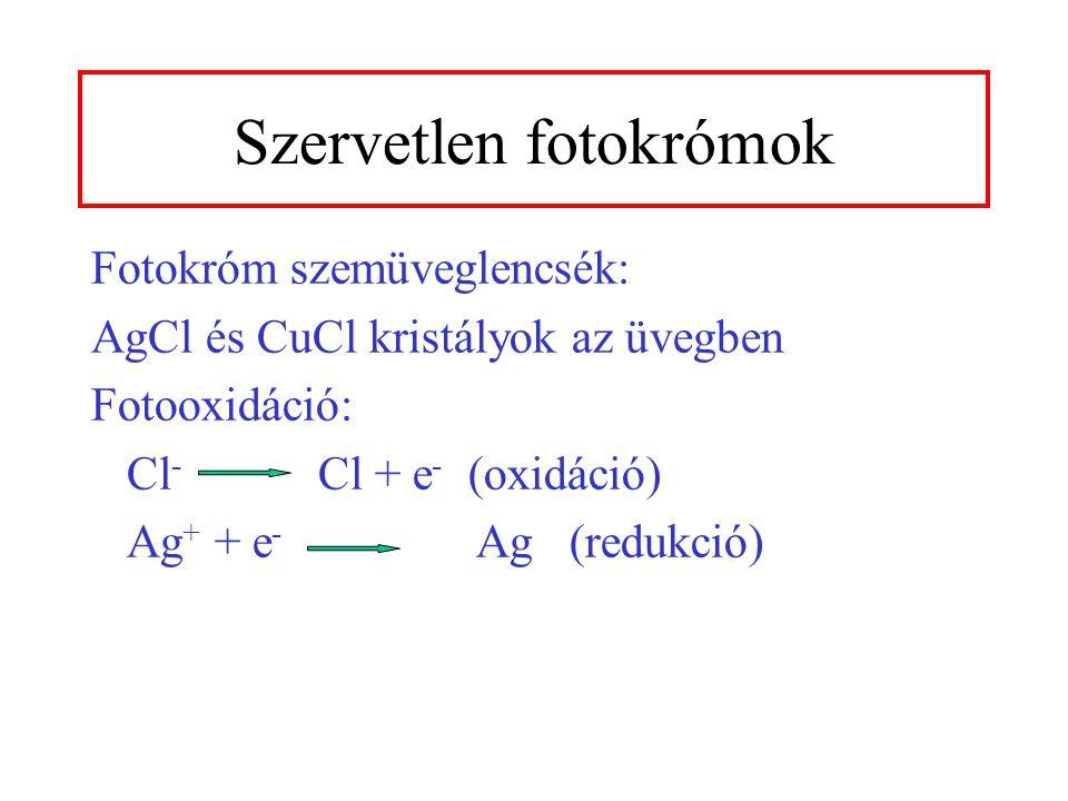 Fotokróm szemüveglencsék: AgCl és CuCl kristályok az üvegben Fotooxidáció: Cl - Cl + e - (oxidáció) Ag + + e - Ag (redukció) Szervetlen fotokrómok