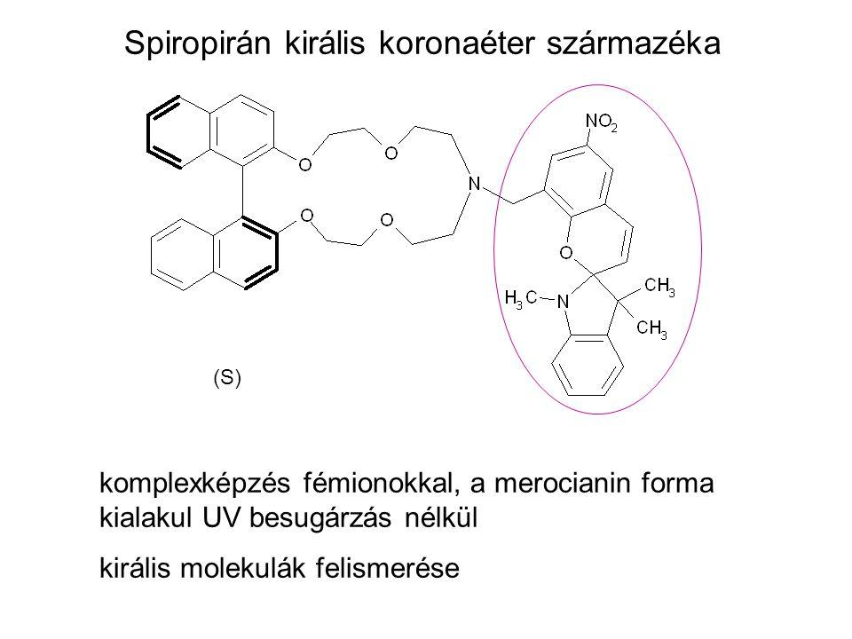 Spiropirán királis koronaéter származéka (S) komplexképzés fémionokkal, a merocianin forma kialakul UV besugárzás nélkül királis molekulák felismerése