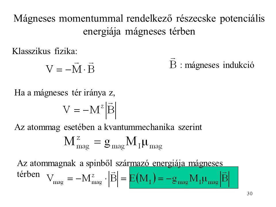 30 Mágneses momentummal rendelkező részecske potenciális energiája mágneses térben Klasszikus fizika: Ha a mágneses tér iránya z, Az atommag esetében a kvantummechanika szerint : mágneses indukció Az atommagnak a spinből származó energiája mágneses térben