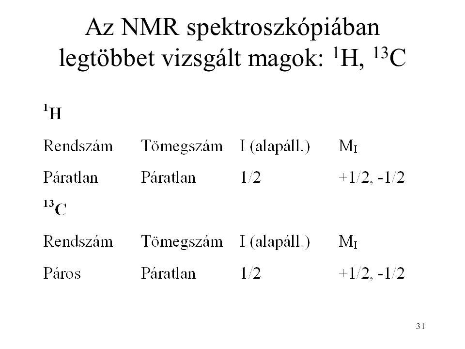 31 Az NMR spektroszkópiában legtöbbet vizsgált magok: 1 H, 13 C