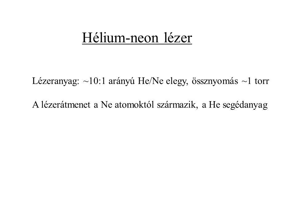 Hélium-neon lézer Lézeranyag: ~10:1 arányú He/Ne elegy, össznyomás ~1 torr A lézerátmenet a Ne atomoktól származik, a He segédanyag