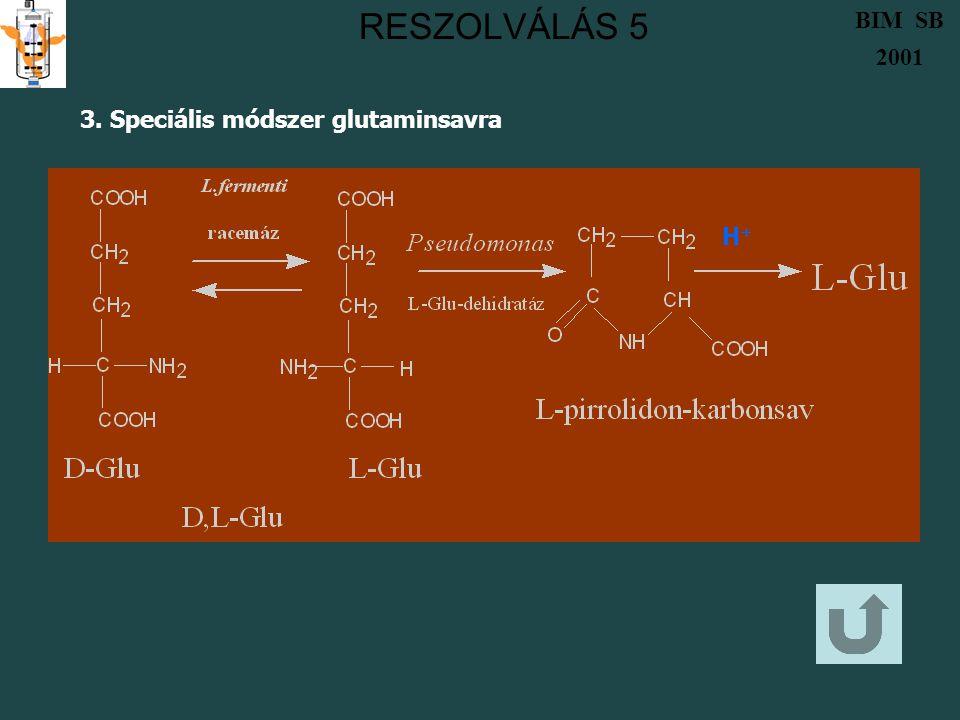RESZOLVÁLÁS 5 3. Speciális módszer glutaminsavra H+H+ BIM SB 2001