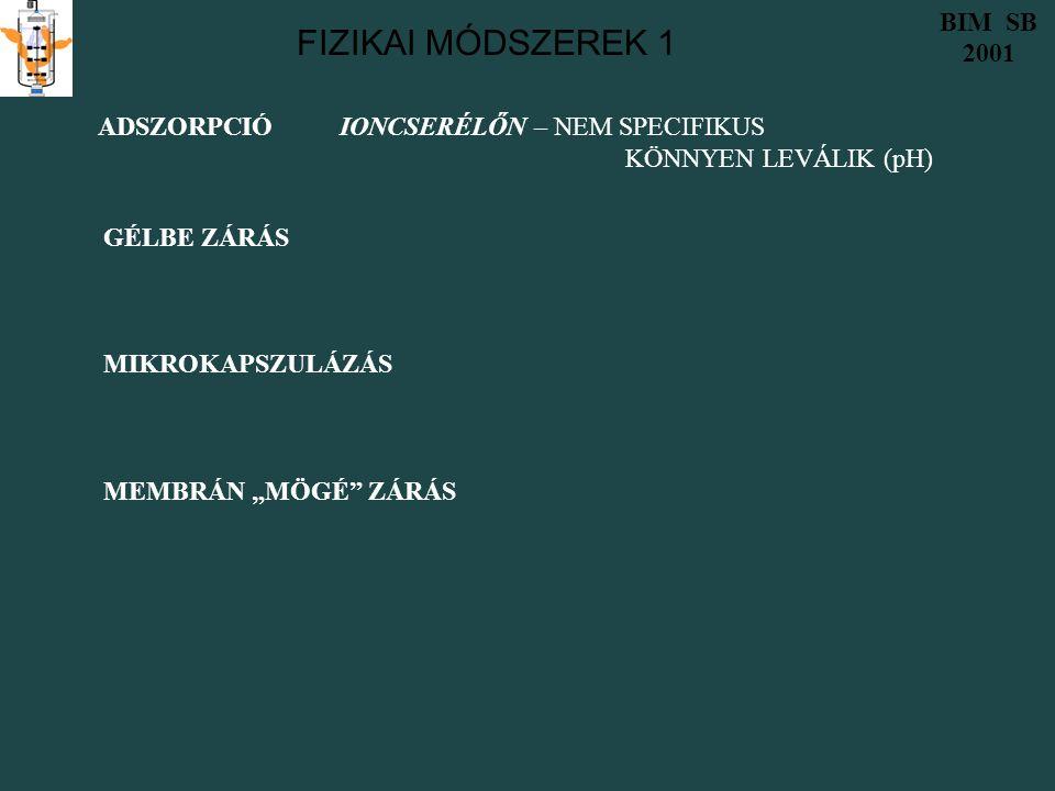 """FIZIKAI MÓDSZEREK 1 BIM SB 2001 ADSZORPCIÓ IONCSERÉLŐN – NEM SPECIFIKUS KÖNNYEN LEVÁLIK (pH) GÉLBE ZÁRÁS MIKROKAPSZULÁZÁS MEMBRÁN """"MÖGÉ ZÁRÁS"""