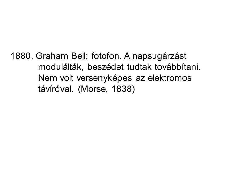 1880. Graham Bell: fotofon. A napsugárzást modulálták, beszédet tudtak továbbítani. Nem volt versenyképes az elektromos távíróval. (Morse, 1838)