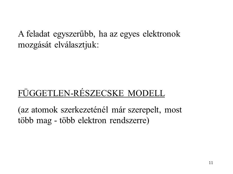 11 A feladat egyszerűbb, ha az egyes elektronok mozgását elválasztjuk: FÜGGETLEN-RÉSZECSKE MODELL (az atomok szerkezeténél már szerepelt, most több mag - több elektron rendszerre)