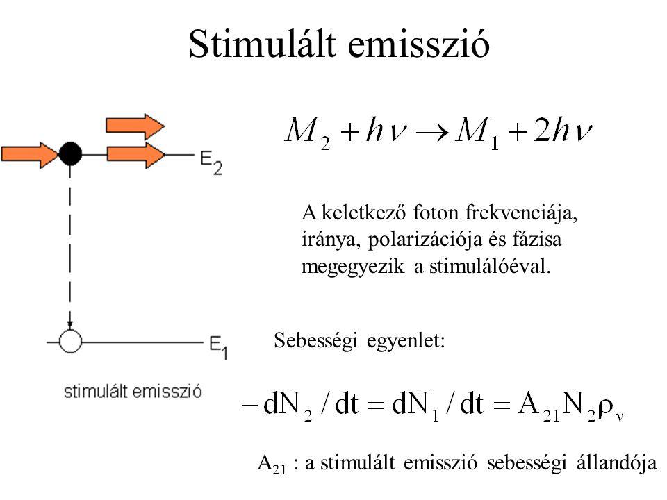 Stimulált emisszió Sebességi egyenlet: A 21 : a stimulált emisszió sebességi állandója A keletkező foton frekvenciája, iránya, polarizációja és fázisa megegyezik a stimulálóéval.