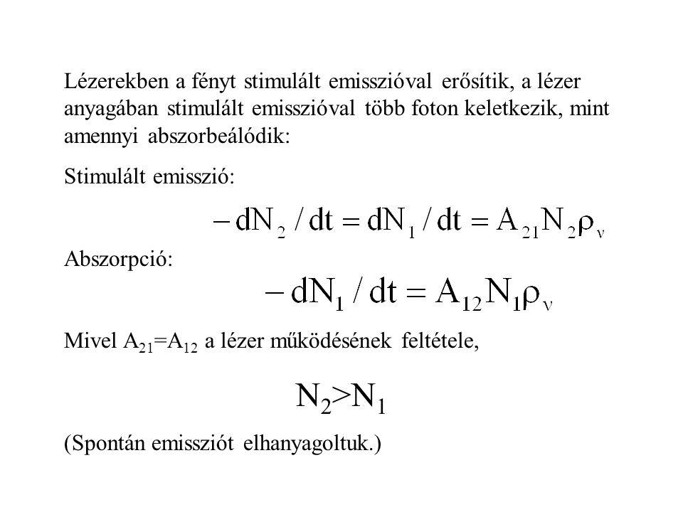 Lézerekben a fényt stimulált emisszióval erősítik, a lézer anyagában stimulált emisszióval több foton keletkezik, mint amennyi abszorbeálódik: Stimulált emisszió: Abszorpció: Mivel A 21 =A 12 a lézer működésének feltétele, N 2 >N 1 (Spontán emissziót elhanyagoltuk.)