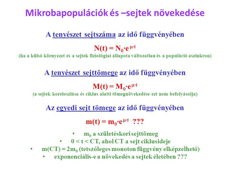 Mikrobapopulációk és –sejtek növekedése A tenyészet sejtszáma az idő függvényében N(t) = N 0 ·e  ·t (ha a külső környezet és a sejtek fiziológiai áll