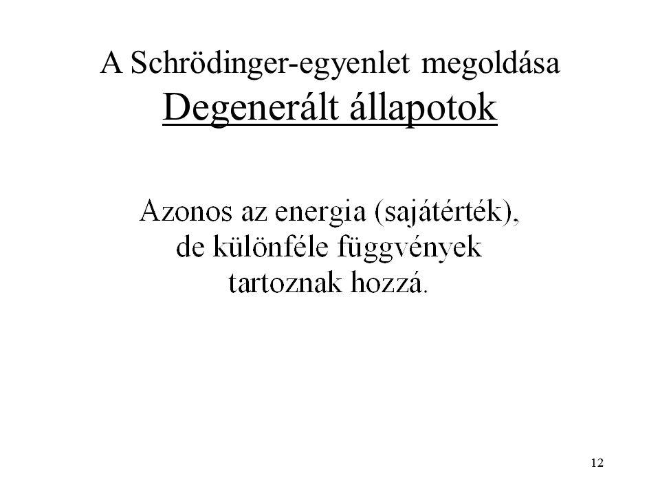 12 A Schrödinger-egyenlet megoldása Degenerált állapotok 12