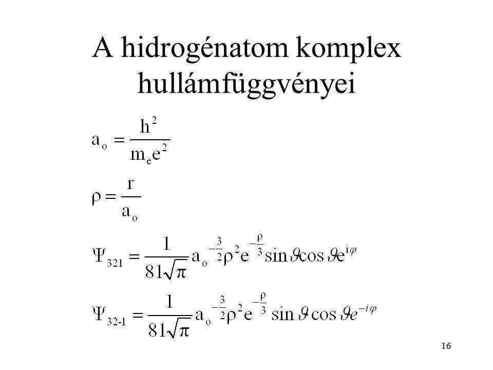 16 A hidrogénatom komplex hullámfüggvényei 16