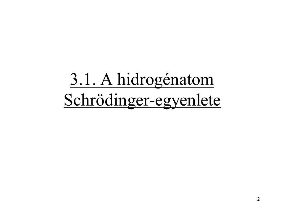 2 3.1. A hidrogénatom Schrödinger-egyenlete 2
