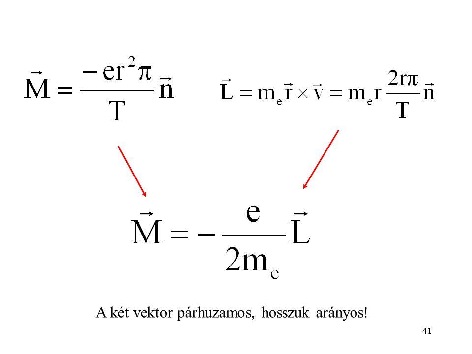 41 A két vektor párhuzamos, hosszuk arányos! 41