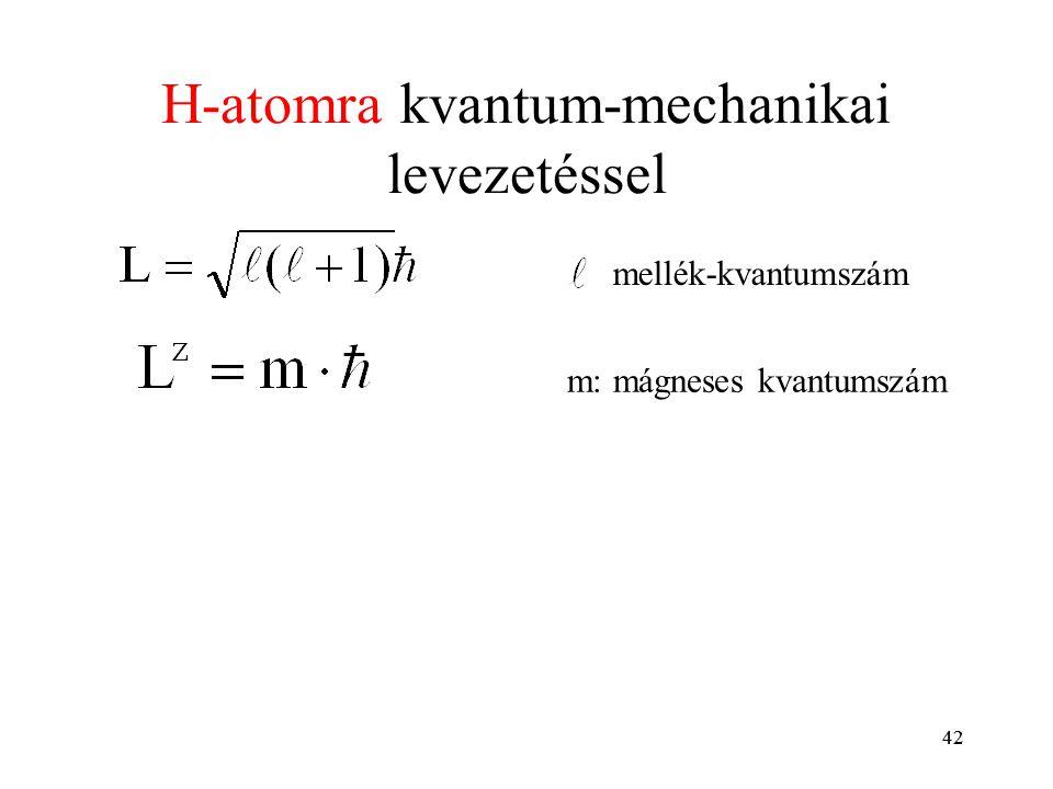 42 H-atomra kvantum-mechanikai levezetéssel mellék-kvantumszám m: mágneses kvantumszám 42