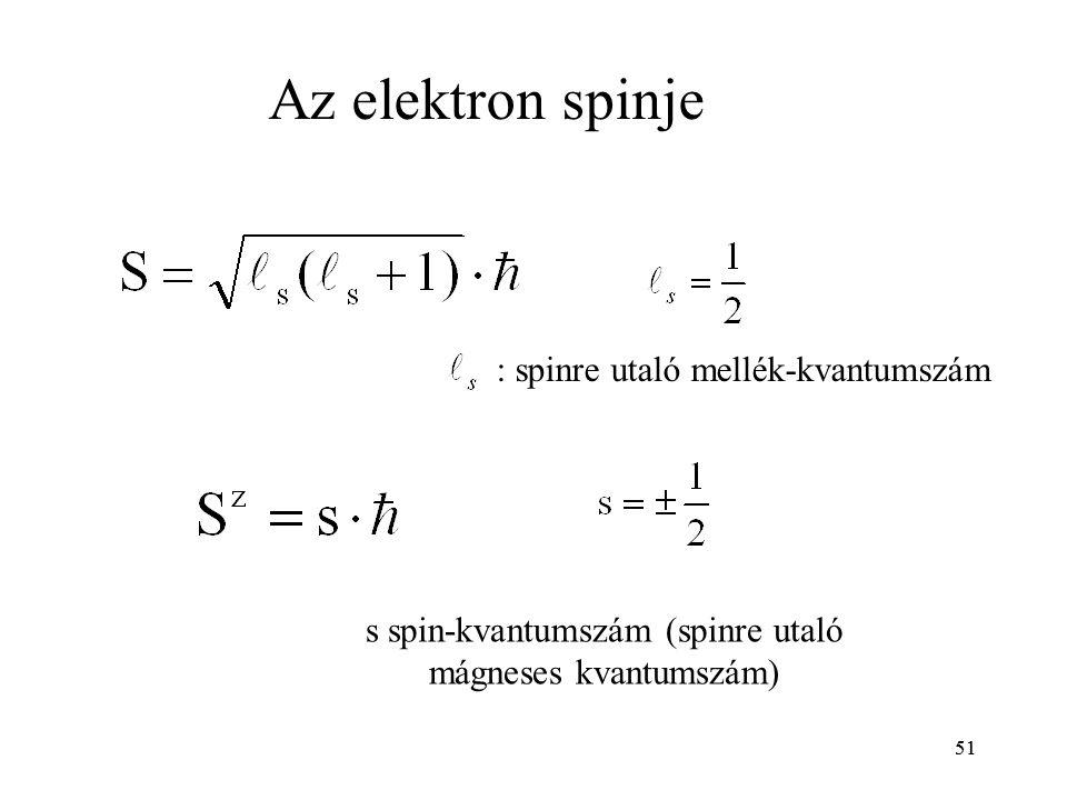 51 : spinre utaló mellék-kvantumszám Az elektron spinje s spin-kvantumszám (spinre utaló mágneses kvantumszám) 51