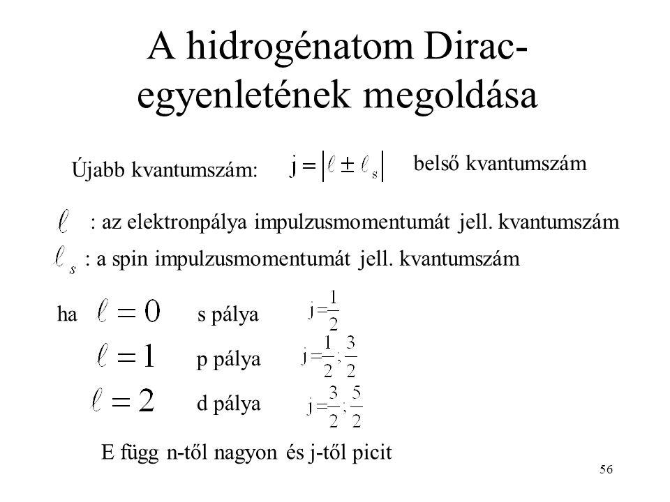 56 A hidrogénatom Dirac- egyenletének megoldása E függ n-től nagyon és j-től picit : az elektronpálya impulzusmomentumát jell. kvantumszám : a spin im