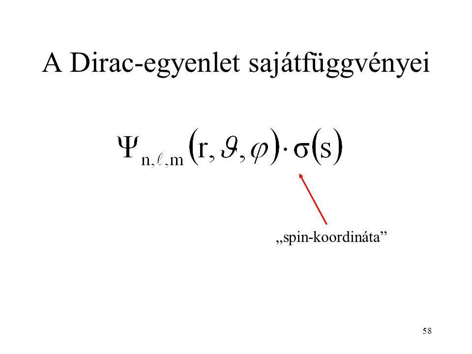 """58 A Dirac-egyenlet sajátfüggvényei """"spin-koordináta"""""""
