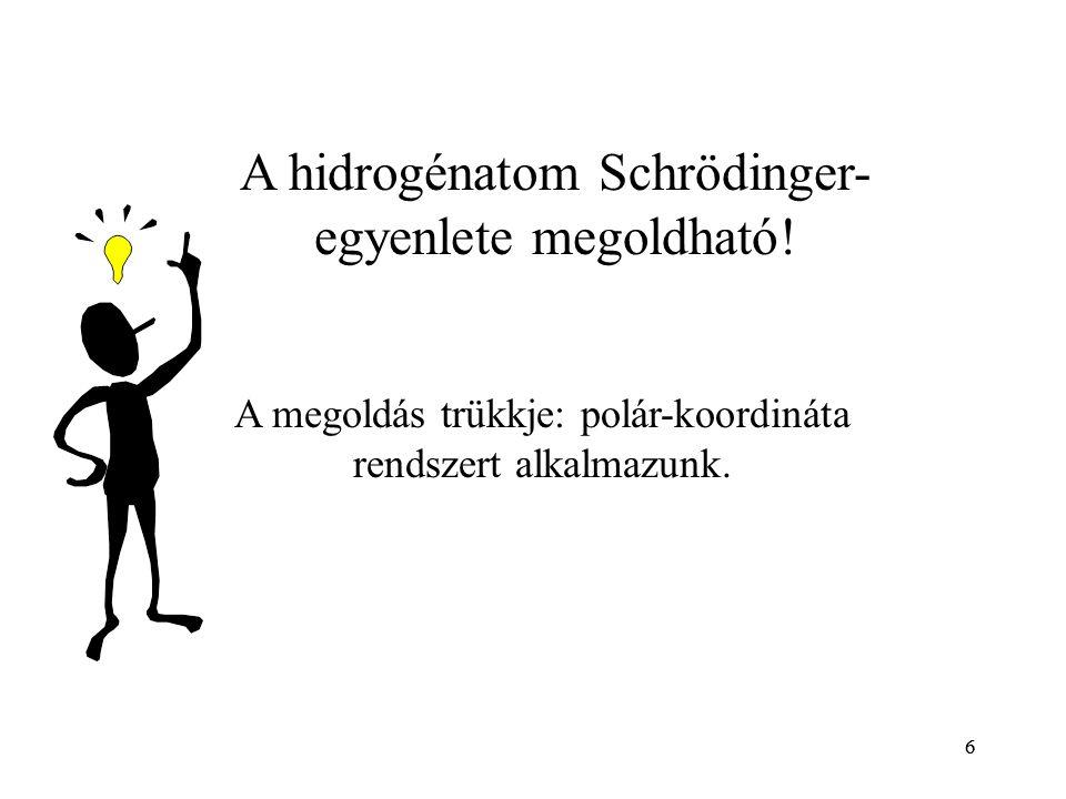 6 A hidrogénatom Schrödinger- egyenlete megoldható! A megoldás trükkje: polár-koordináta rendszert alkalmazunk. 6