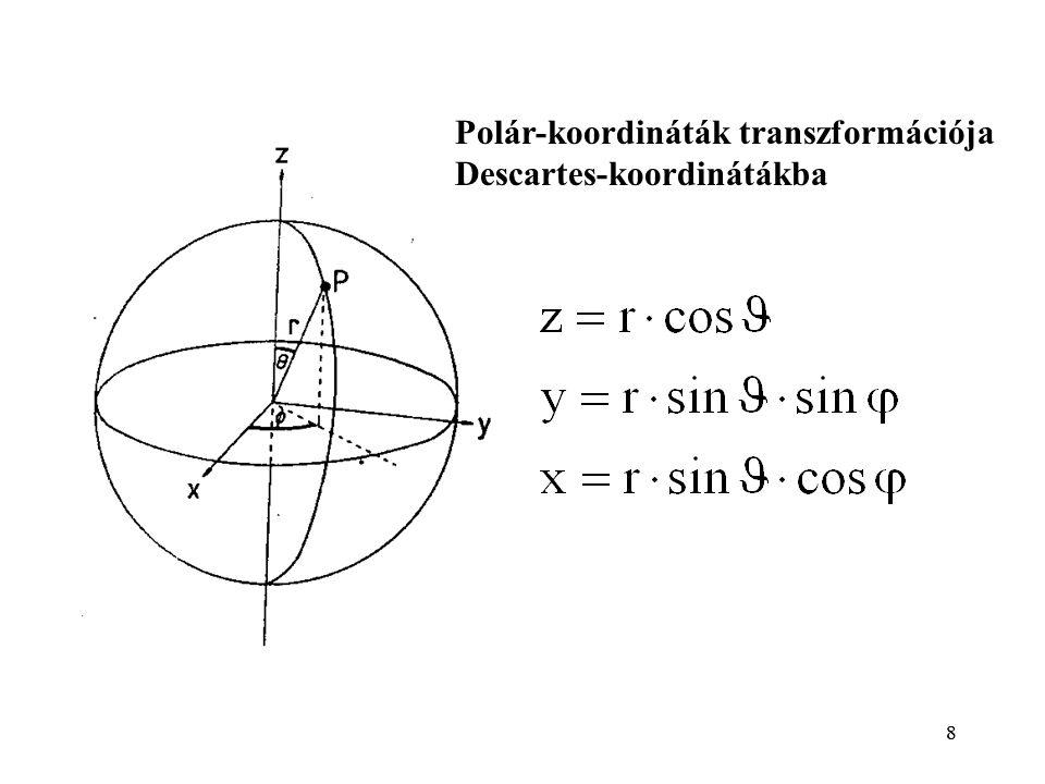 8 Polár-koordináták transzformációja Descartes-koordinátákba 8
