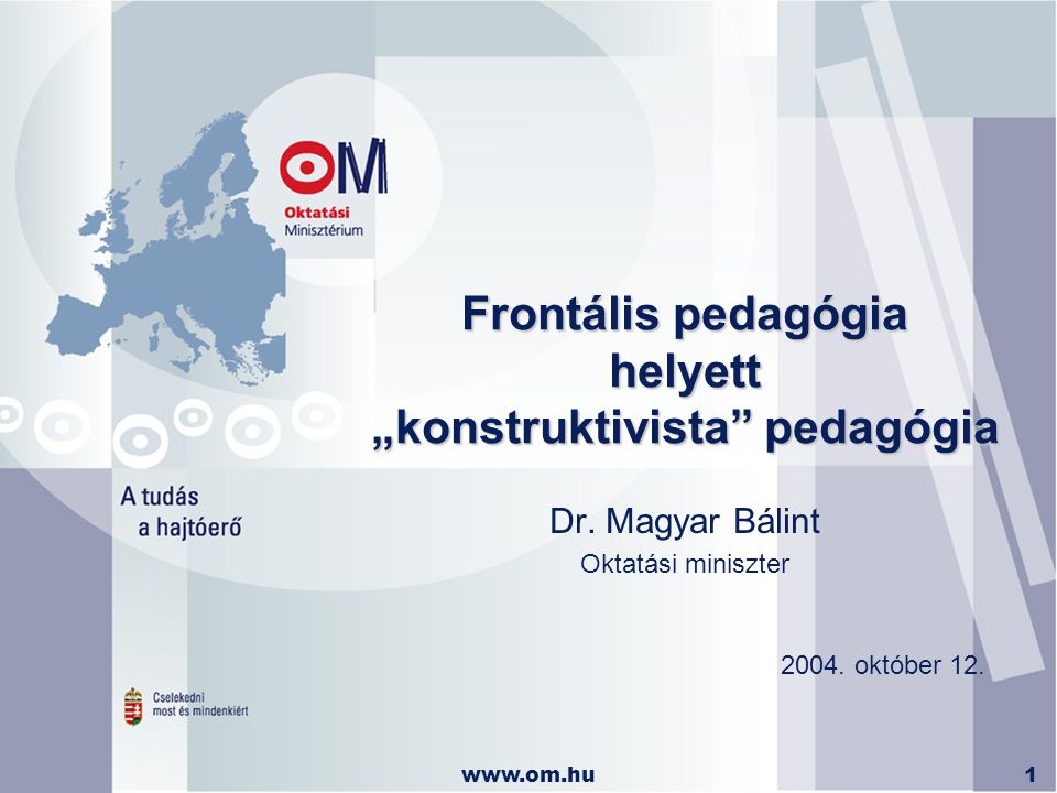 "www.om.hu1 Frontális pedagógia helyett ""konstruktivista pedagógia Dr."