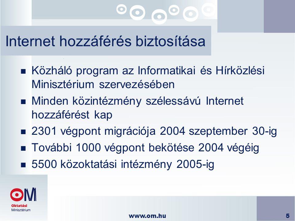 www.om.hu5 Internet hozzáférés biztosítása n Közháló program az Informatikai és Hírközlési Minisztérium szervezésében n Minden közintézmény szélessávú Internet hozzáférést kap n 2301 végpont migrációja 2004 szeptember 30-ig n További 1000 végpont bekötése 2004 végéig n 5500 közoktatási intézmény 2005-ig
