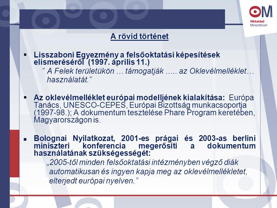 A rövid történet  Lisszaboni Egyezmény a felsőoktatási képesítések elismeréséről (1997.