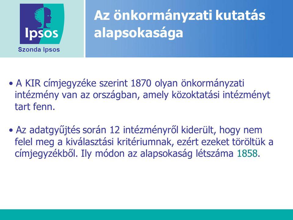 Szonda Ipsos A KIR címjegyzéke szerint 1870 olyan önkormányzati intézmény van az országban, amely közoktatási intézményt tart fenn.