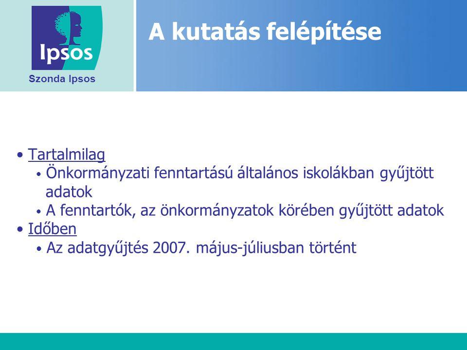 Szonda Ipsos Tartalmilag Önkormányzati fenntartású általános iskolákban gyűjtött adatok A fenntartók, az önkormányzatok körében gyűjtött adatok Időben Az adatgyűjtés 2007.