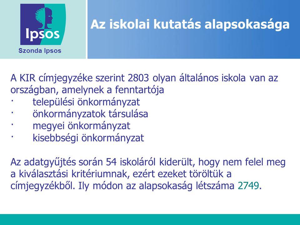 Szonda Ipsos A KIR címjegyzéke szerint 2803 olyan általános iskola van az országban, amelynek a fenntartója · települési önkormányzat · önkormányzatok társulása · megyei önkormányzat · kisebbségi önkormányzat Az adatgyűjtés során 54 iskoláról kiderült, hogy nem felel meg a kiválasztási kritériumnak, ezért ezeket töröltük a címjegyzékből.