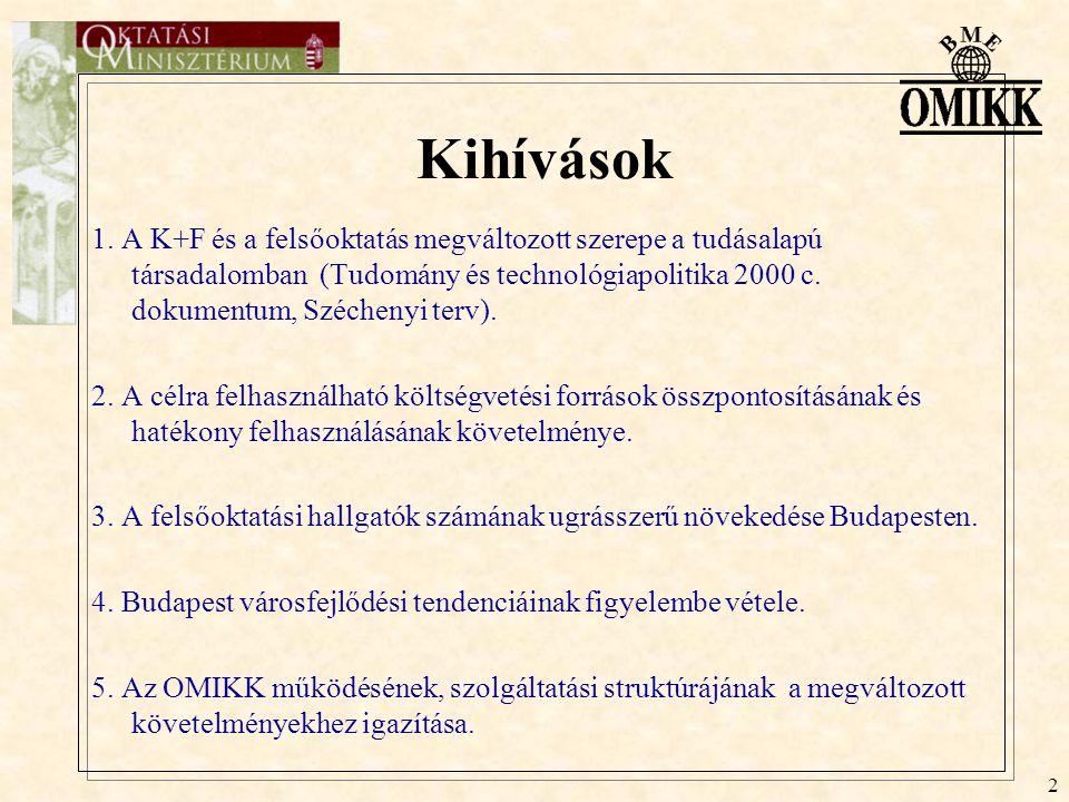 3 Az OM szakmapolitikai céljai 1.) A magyar gazdaság tartós növekedését biztosító műszaki és természet- tudományos tudás segítése, a jegyzet-, szakkönyv- és elektronikus információellátás- és szolgáltatások szélesebb felhasználói körre történő kiterjesztése, egyidejűleg a Lágymányoson kiépülő műszaki- és K+F centrumhoz telepítése.