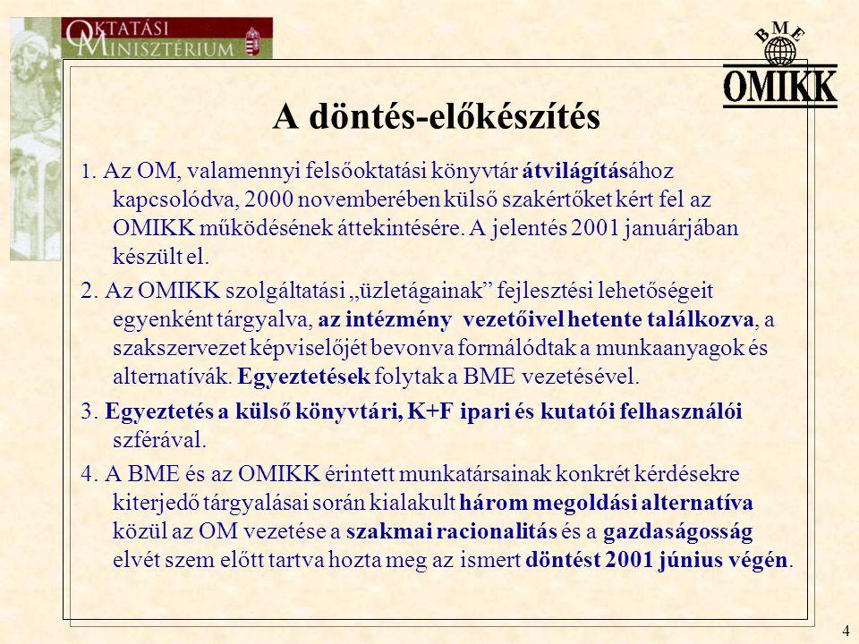 4 A döntés-előkészítés 1. Az OM, valamennyi felsőoktatási könyvtár átvilágításához kapcsolódva, 2000 novemberében külső szakértőket kért fel az OMIKK