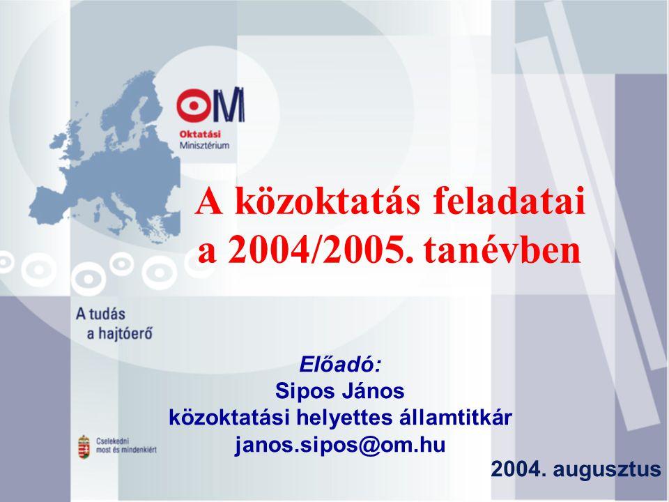 A közoktatás feladatai a 2004/2005. tanévben Előadó: Sipos János közoktatási helyettes államtitkár janos.sipos@om.hu 2004. augusztus