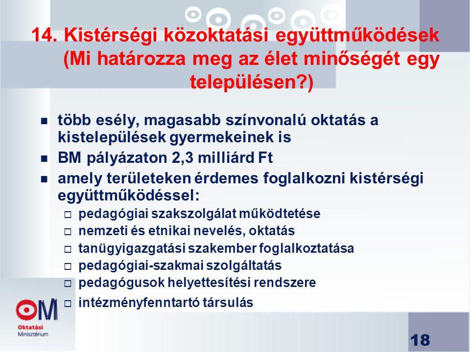 18 14. Kistérségi közoktatási együttműködések (Mi határozza meg az élet minőségét egy településen?) n több esély, magasabb színvonalú oktatás a kistel