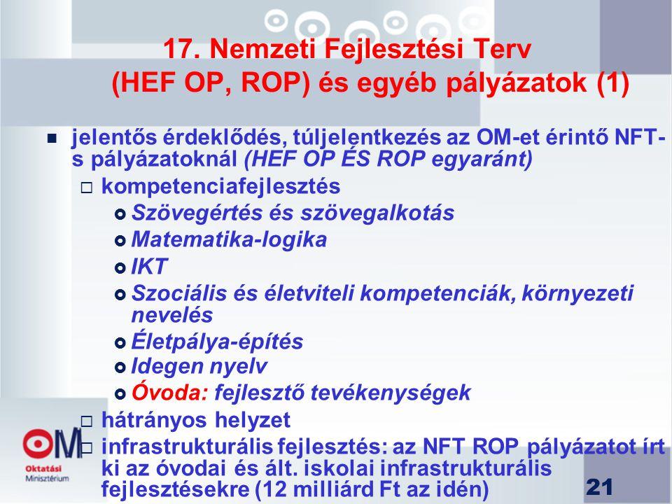 21 17. Nemzeti Fejlesztési Terv (HEF OP, ROP) és egyéb pályázatok (1) n jelentős érdeklődés, túljelentkezés az OM-et érintő NFT- s pályázatoknál (HEF