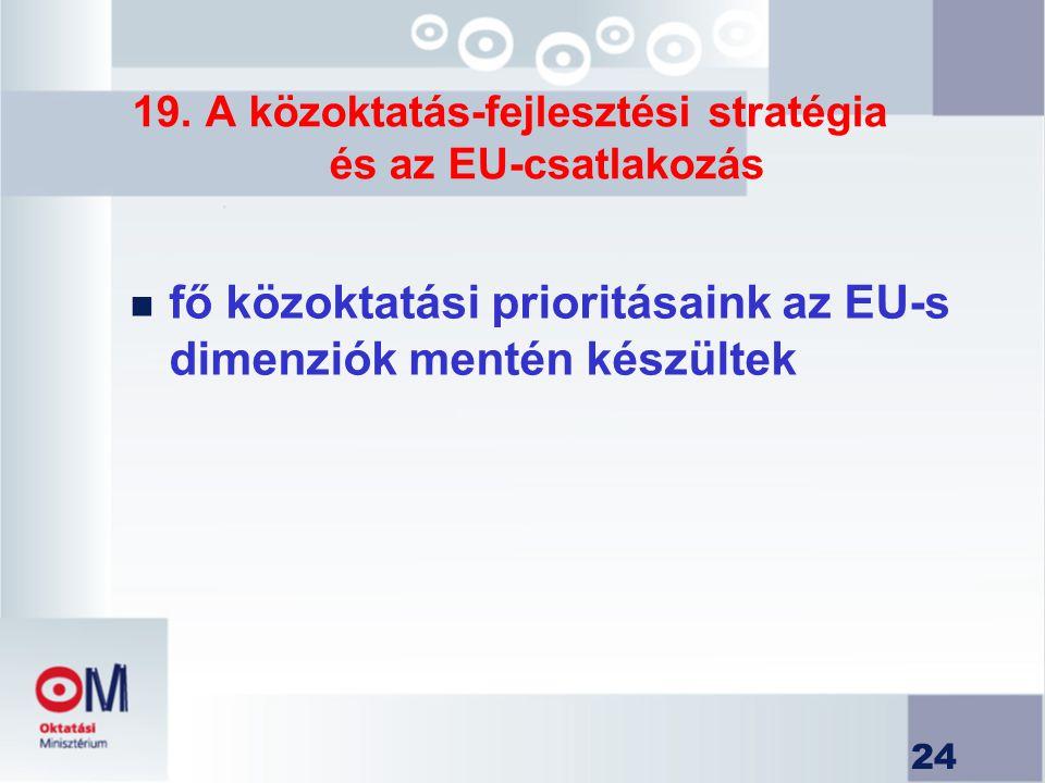 24 19. A közoktatás-fejlesztési stratégia és az EU-csatlakozás n fő közoktatási prioritásaink az EU-s dimenziók mentén készültek