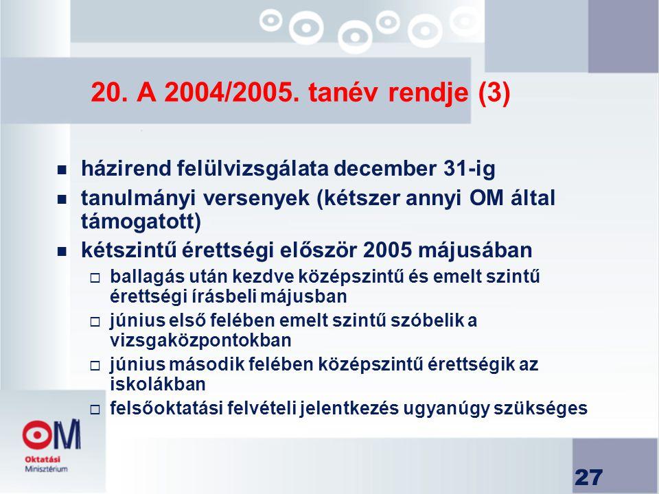 27 20. A 2004/2005. tanév rendje (3) n házirend felülvizsgálata december 31-ig n tanulmányi versenyek (kétszer annyi OM által támogatott) n kétszintű
