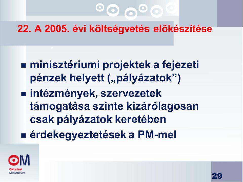 """29 22. A 2005. évi költségvetés előkészítése n minisztériumi projektek a fejezeti pénzek helyett (""""pályázatok"""") n intézmények, szervezetek támogatása"""