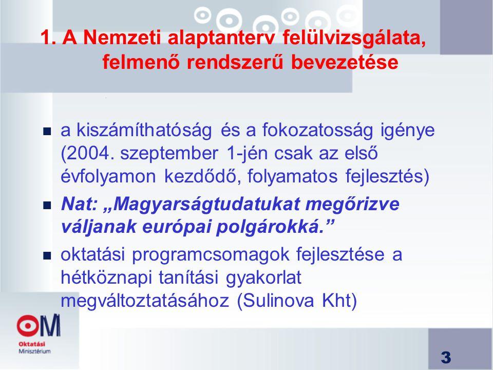 3 1. A Nemzeti alaptanterv felülvizsgálata, felmenő rendszerű bevezetése n a kiszámíthatóság és a fokozatosság igénye (2004. szeptember 1-jén csak az