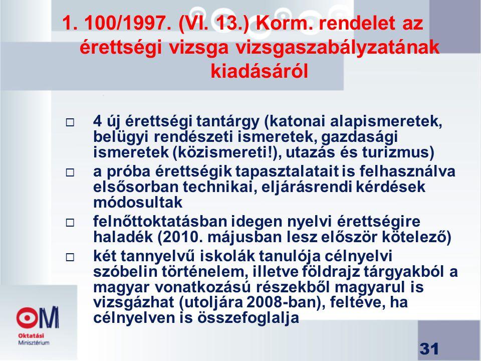 31 1. 100/1997. (VI. 13.) Korm. rendelet az érettségi vizsga vizsgaszabályzatának kiadásáról  4 új érettségi tantárgy (katonai alapismeretek, belügyi