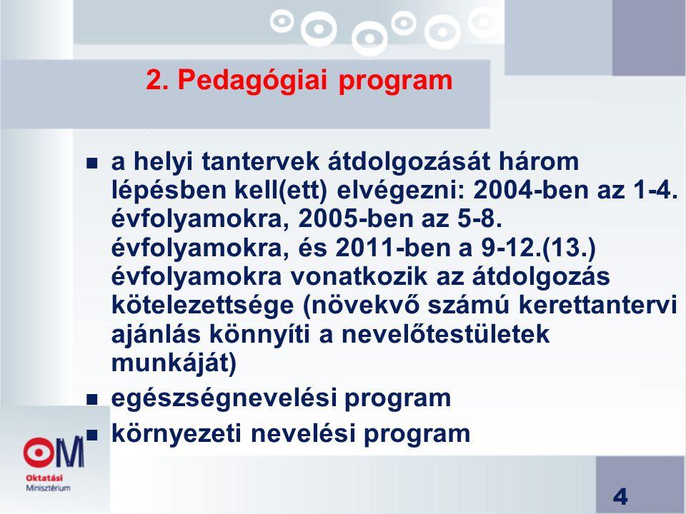 4 2. Pedagógiai program n a helyi tantervek átdolgozását három lépésben kell(ett) elvégezni: 2004-ben az 1-4. évfolyamokra, 2005-ben az 5-8. évfolyamo