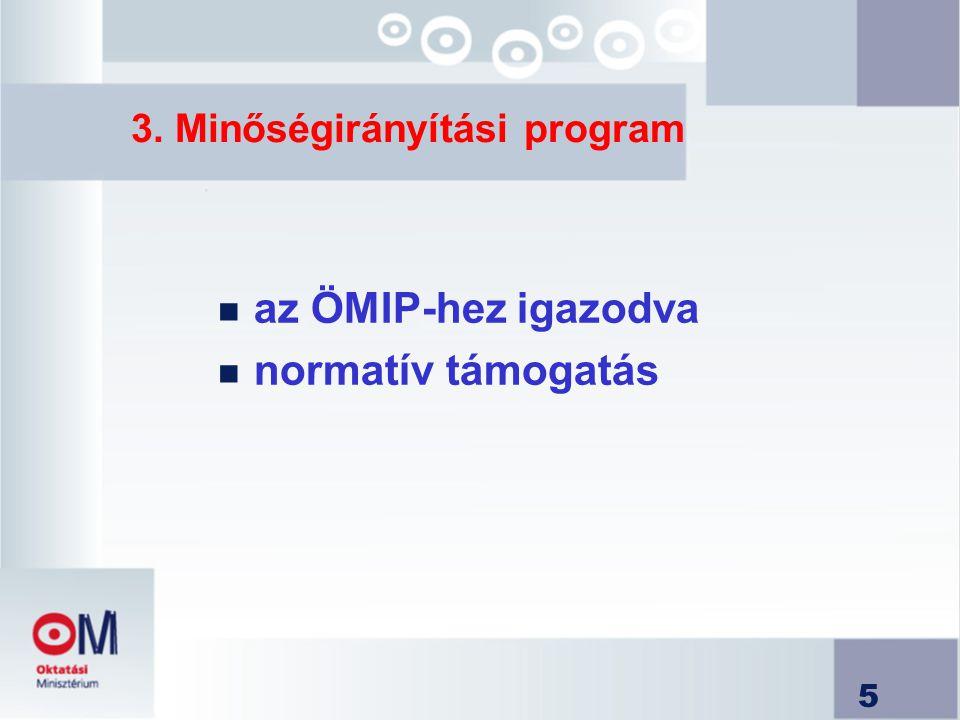5 3. Minőségirányítási program n az ÖMIP-hez igazodva n normatív támogatás