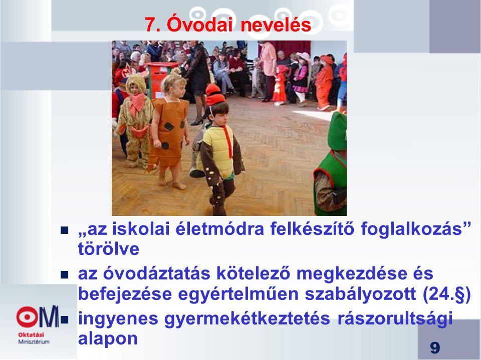 30 Jogszabályi változások A nyáron módosult, illetve tanévkezdés környékén módosul (a www.om.hu honlapon is nyomon követhető):
