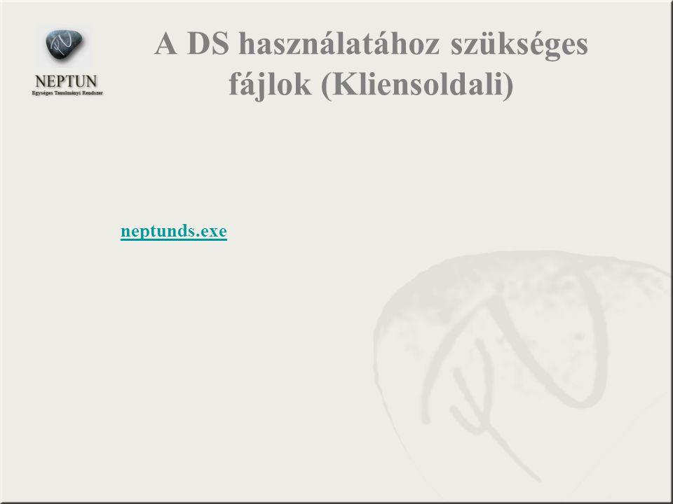A DS használatához szükséges fájlok (Kliensoldali) neptunds.exe